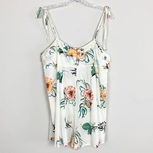 Urban Outfitters | floral print shorts romper L